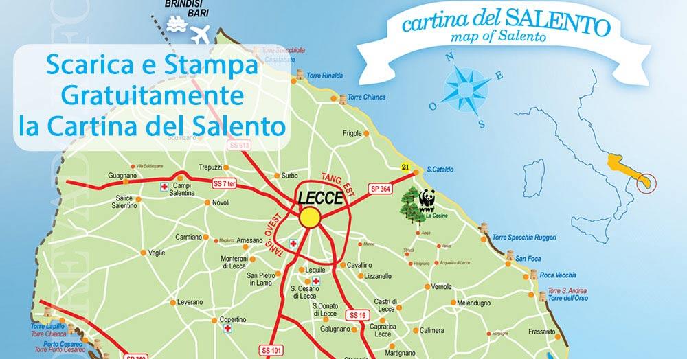 Salento Cartina Stradale.Cartina Del Salento Cartinasalento It